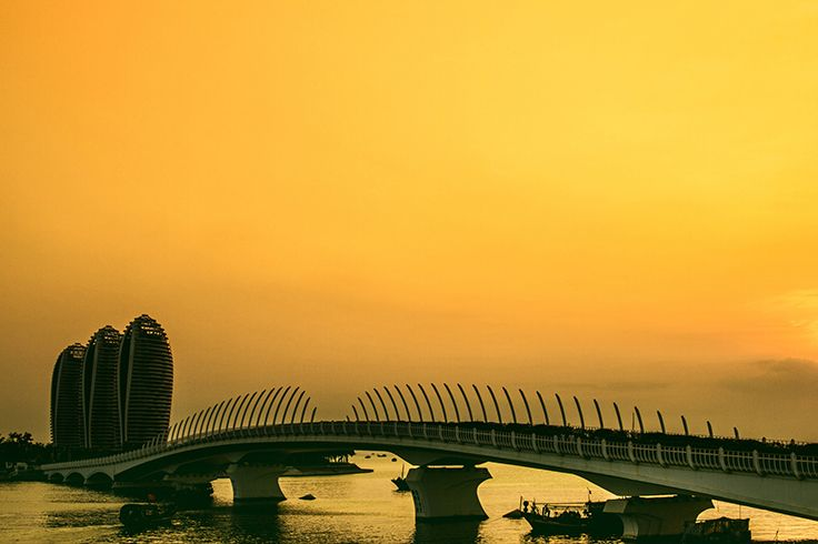 #Sanya in a golden hue.  #Nature #Sunset #Sunrise #Amazing #Bridge #China…
