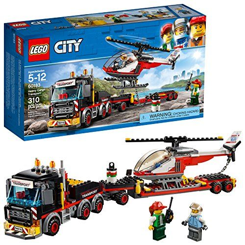 LEGO City Great Vehicles Heavy Cargo Transport 60183 Building Kit (310 Piece) - Head to the worksite outside the city limits with the LEGO city heavy cargo transport, featuring a heavy truck with opening cab, toolbox and bull bars, a detachable extended trailer, plus a helicopter with spinning rotors, opening cockpit and a chain. This popular kids toy includes 2 minifigures.
