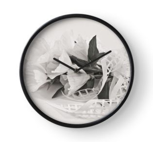 Clock with white godetia flowers in black and white.   #godetia #godetiaflowers #godetiaart