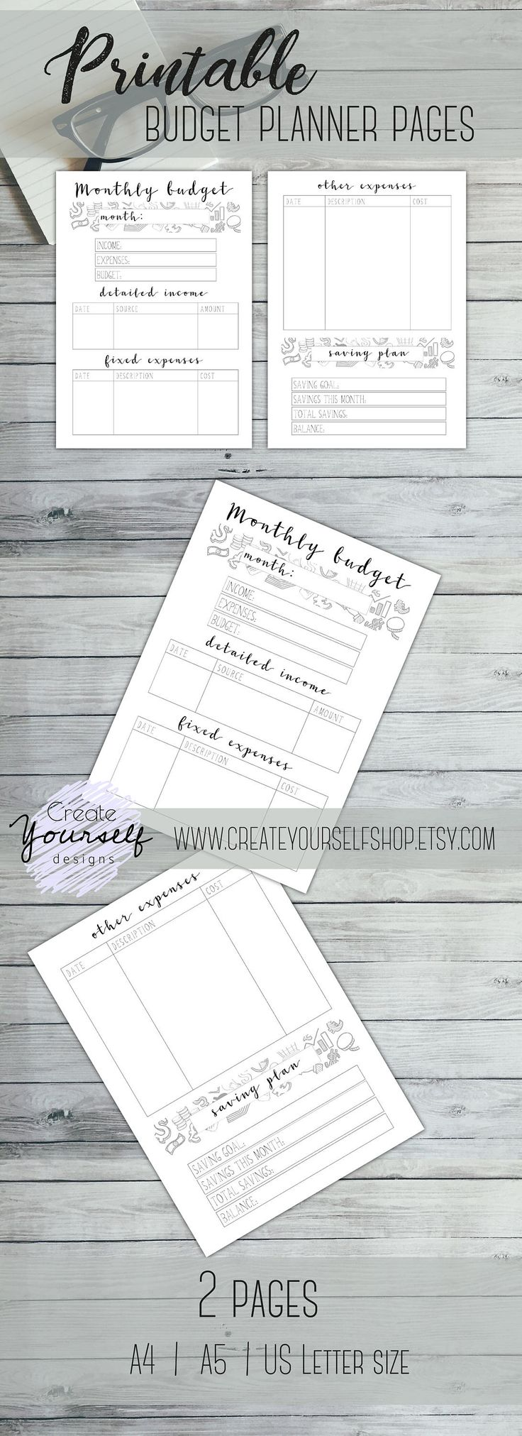 Newest addition! A little help for those who struggle to keep track of their monthly budget or saving goals. Printable budget planner up in my Etsy shop.