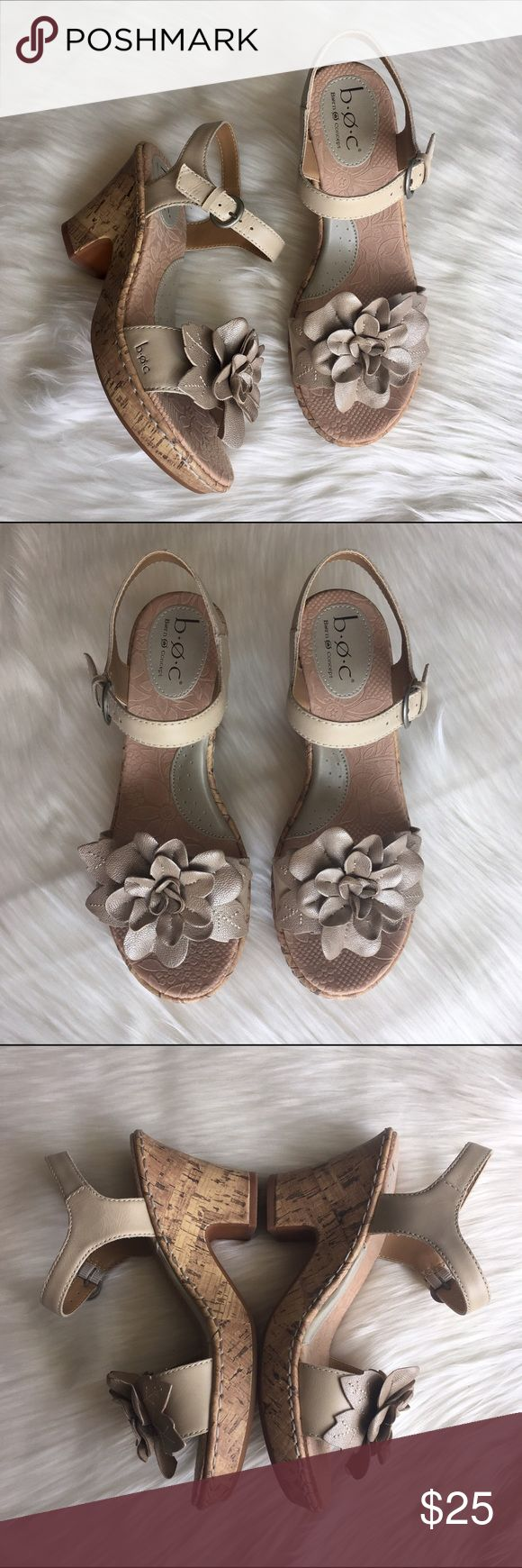 """boc Born Concept Flower Heeled Sandals - Sz 7 Adorable floral heeled sandals with ankle strap from boc in like new condition! Leather upper; manmade balance. Platform/heels have a cork appearance. Heel measures about 3.25"""" with 1"""" platform. Comfy enough to wear all day while still looking classy and put together! Questions welcome! Born Shoes Sandals"""