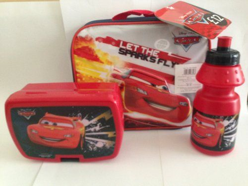 Disney Cars Let The Sparks Fly Childrens Lunch Set Bottle Bag Box NEW