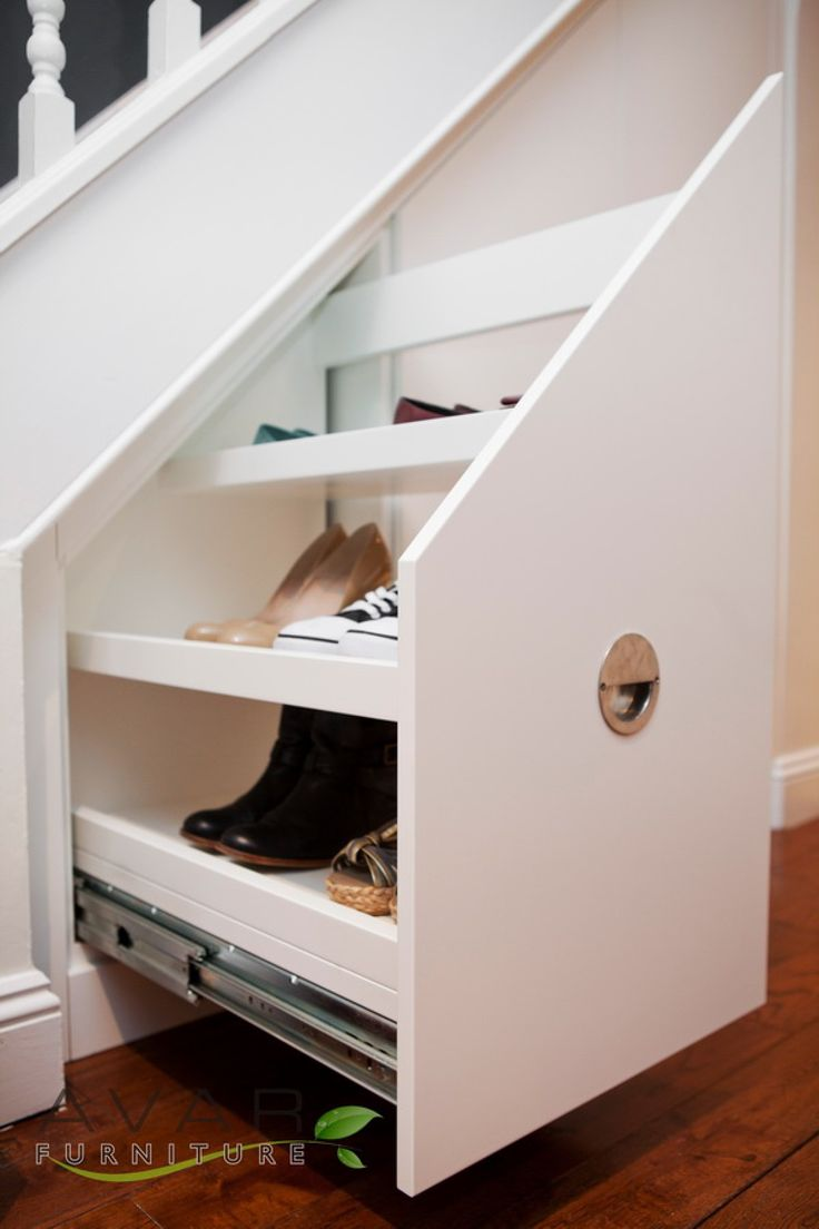 Interior design Great Idea Under Stairs Shelving With White Staircase And  White Wooden Stair Fence Also White Drawers For Storage And Wooden Flooring  In ...