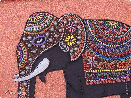 Картина панно рисунок Аппликация Роспись Мой индийский слон Бумага Краска фото 3
