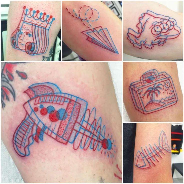 Une sélection des jolistatouages en 3D de l'artiste Winston the Whale, un tatoueurbasé àPortland qui utilise la technique de l'anaglyphe pour créer de
