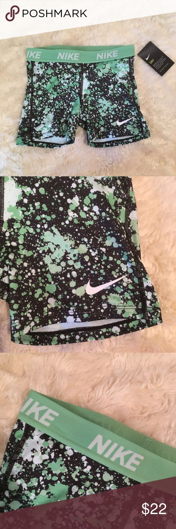 Nike pro shorts Nike pro dri fit workout shorts. New with tags. Girls size L is equivalent to a woman's size M. Nike Shorts