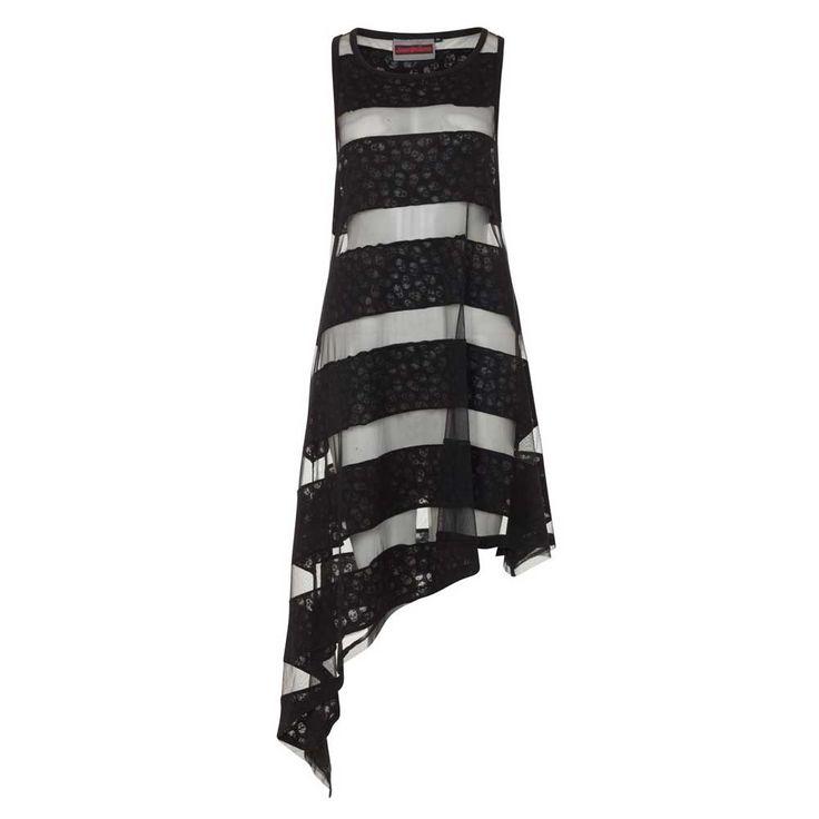 Jawbreaker Skull Striped asymmetrische jurk met schedel patroon zwart