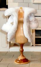 1/12TH SCALE DOLLS' WHITE SATIN AND FUR COAT