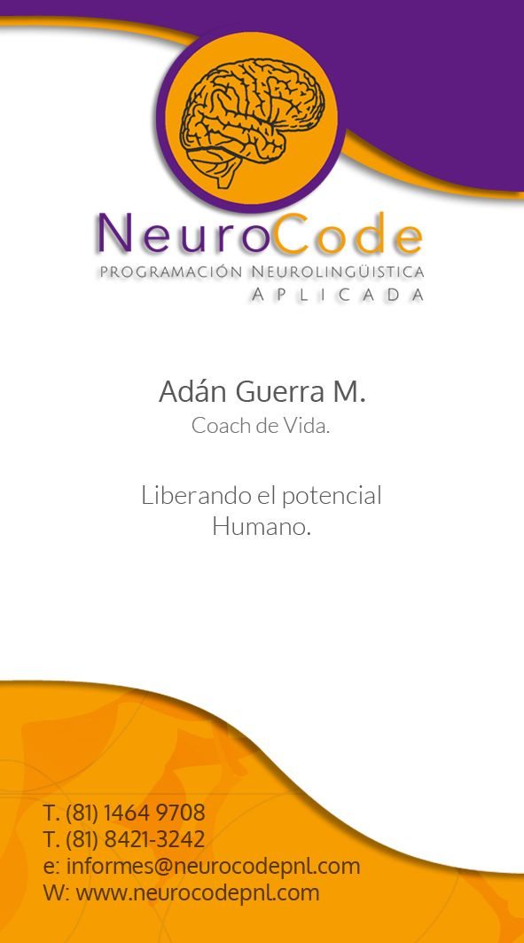 Tarjeta de Presentacion Servicios de Coaching, desarrollo personal y profesional en Monterrey. www.neurocodepnl.com