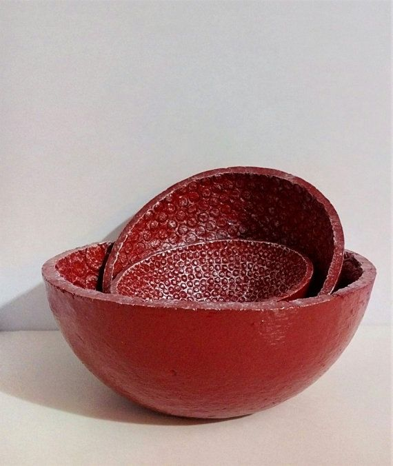 Set of 3 Red & White Bowls with embossed circles by HomeDecoByAna