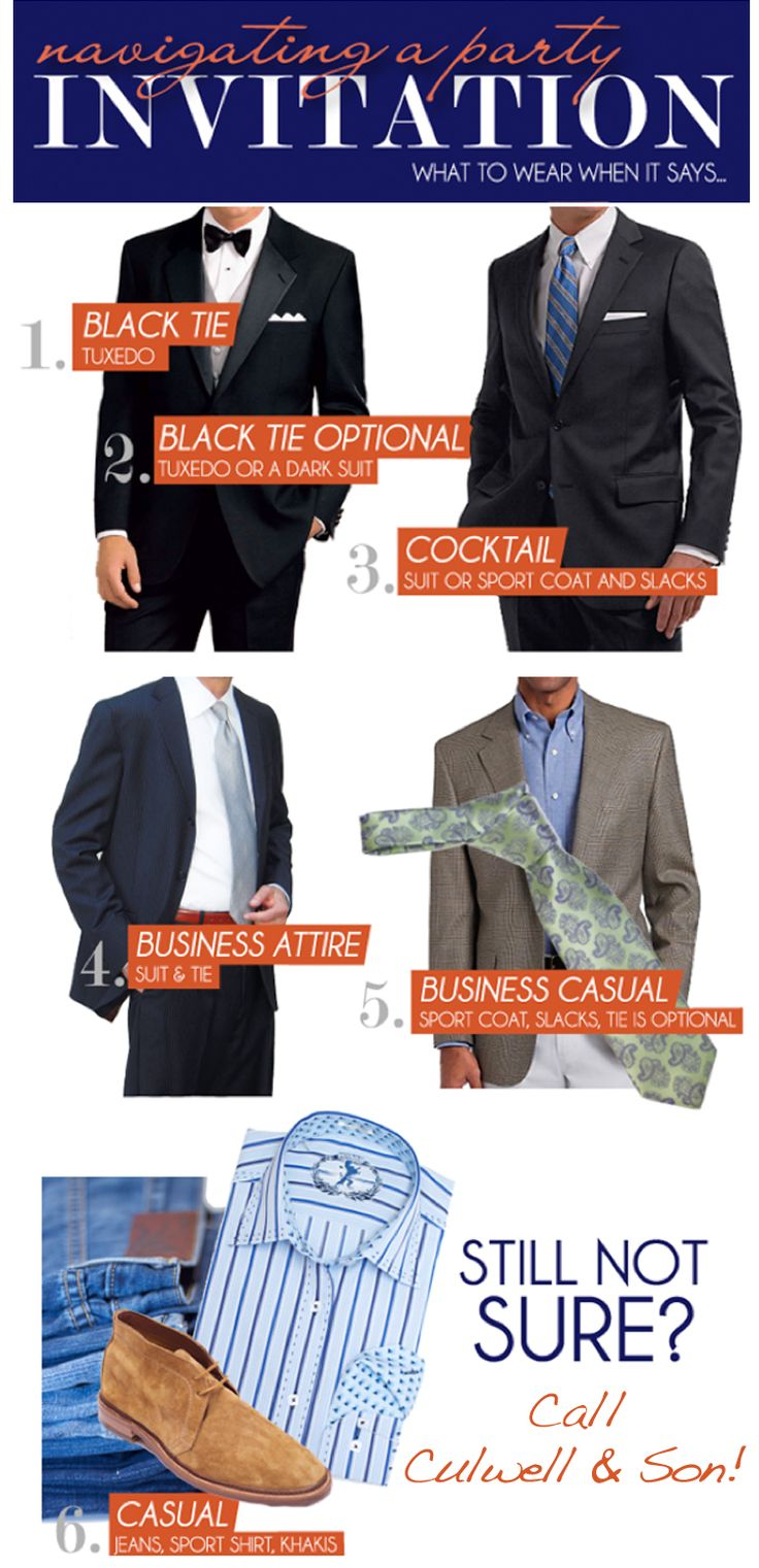 A guide to what a guy should wear when it says...black tie, black tie optional, cocktail, business attire, business casual.  Tips from Culwell and Son in Dallas.  #groom #blacktie #tuxedo #suit