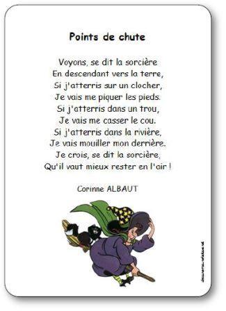 Poésie de Corinne Albaut pour enfants de maternelle et cycle 2, sur le thème d'Halloween et des sorcières. Poésie points de chute