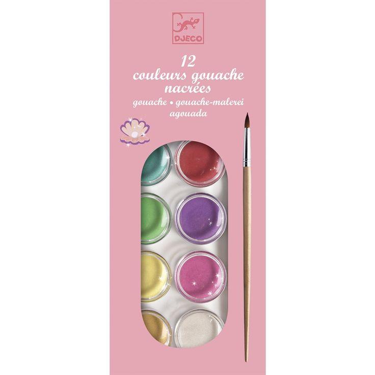 Gyöngyházfényű 12 színű festékkészlet Djeco