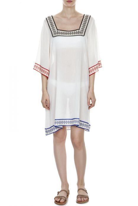 #despinavandicollection Square neckline colorful crochet trim caftan
