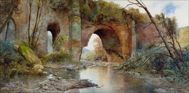 Acquarello di Ettore Roesler Franz Roesler Franz Old Aquaduct 1897