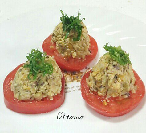 トマトごと 大きなお口をあけてカプリ それぞれの食感が絡み合ってGood ミックスビーンズの旨みを吸ったトマトがまた美味しい~(^^)v - 192件のもぐもぐ - マッシュドビーンズサラダ by december01