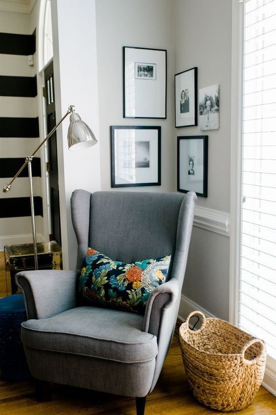 reading chair, corner nook, pharmacy lamp, wingback, fun pillow, basket for blankets or magazines