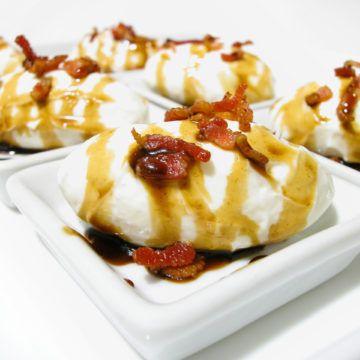 Chevrebollar med knaprigt bacon och balsamicosirap
