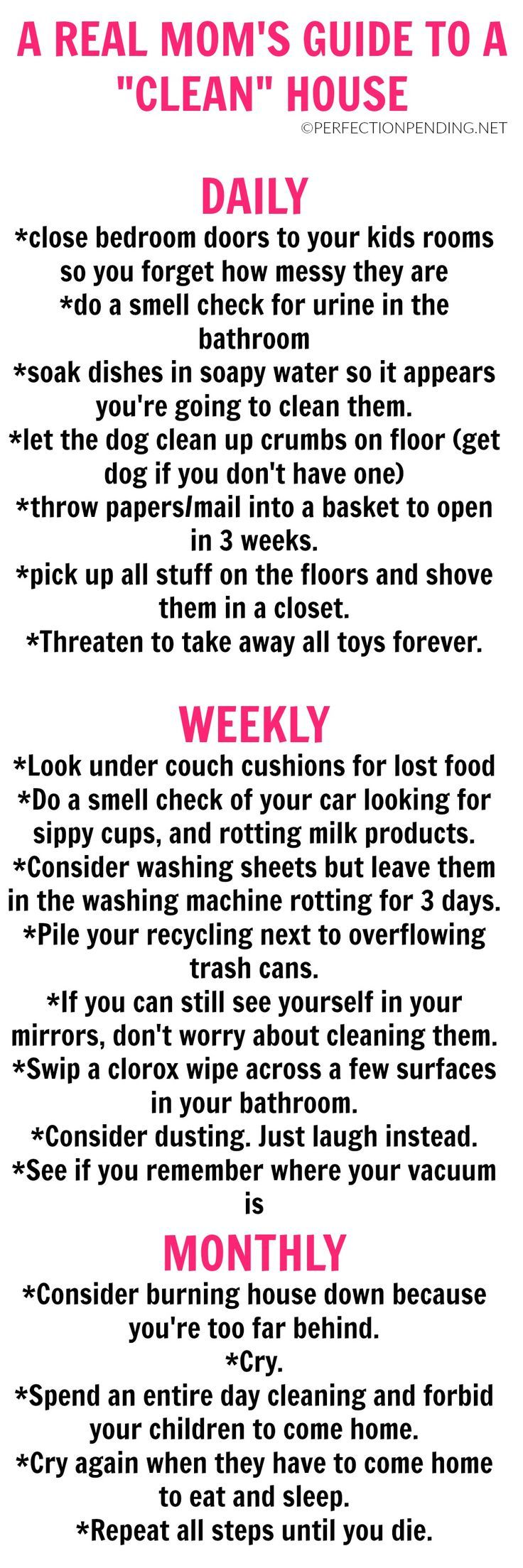 Are you looking for a realistic cleaning schedule you can follow to keep your house clean? Do you need tips for staying on top of a clean home? Then this hilarious guide for moms should be your go-to cleaning guide to help you stay organized. Or at least lower your expectations.