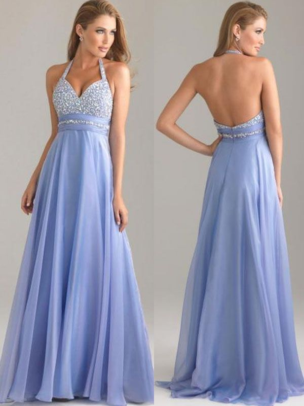 2015 long chiffon blue halter custom prom dress with rhinestone | Cheap prom dresses Sale