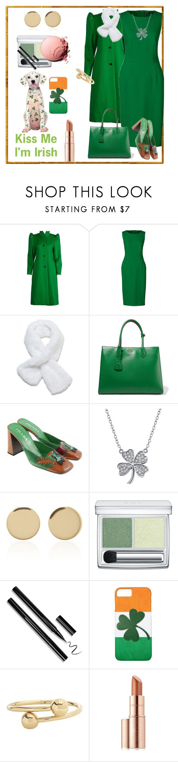 """Top o' the Morning To Ya 🇮🇪"" by klm62 ❤ liked on Polyvore featuring Lands' End, Prada, Bling Jewelry, Magdalena Frackowiak, RMK, J.W. Anderson, Estée Lauder and plus size dresses"