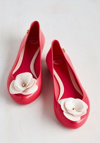 Petit Fours Your Thoughts Flat by Mel Shoes - Solid, Flower, Pearls, Darling, Better, Red