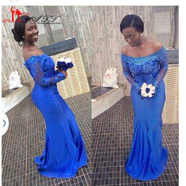 ==> [Free Shipping] Buy Best Aso Ebi style Blue Lace Mermaid Evening Dresses Nigerian prom Dresses Off Shoulder Long sleeves bella naija Party Gowns Online with LOWEST Price | 32693908217