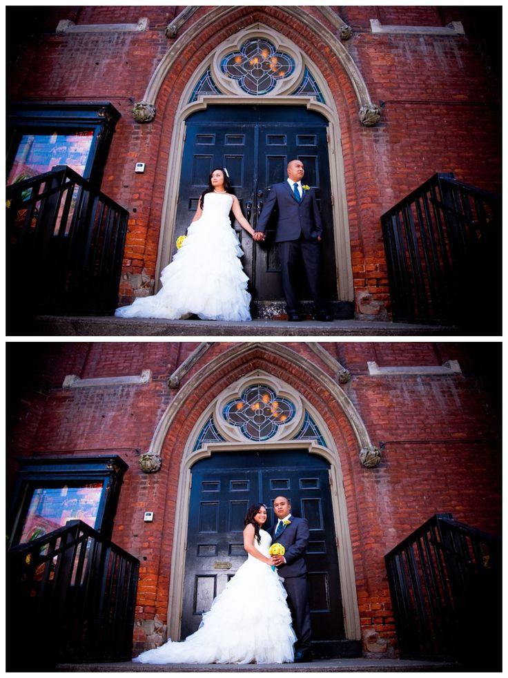 Bride & groom in front of the Berkeley Church