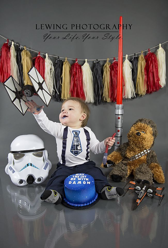 May the 1st be with you! First birthday cake smash theme that is out of the Star Wars Universe!