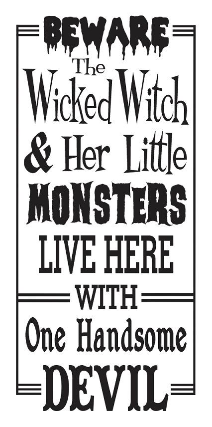 "Primitive Halloween STENCIL**Beware..The Wicked Witch and Her Little Monsters**12""x24"" for Painting Signs, Airbrush, Crafts, Wall Art, Decor"