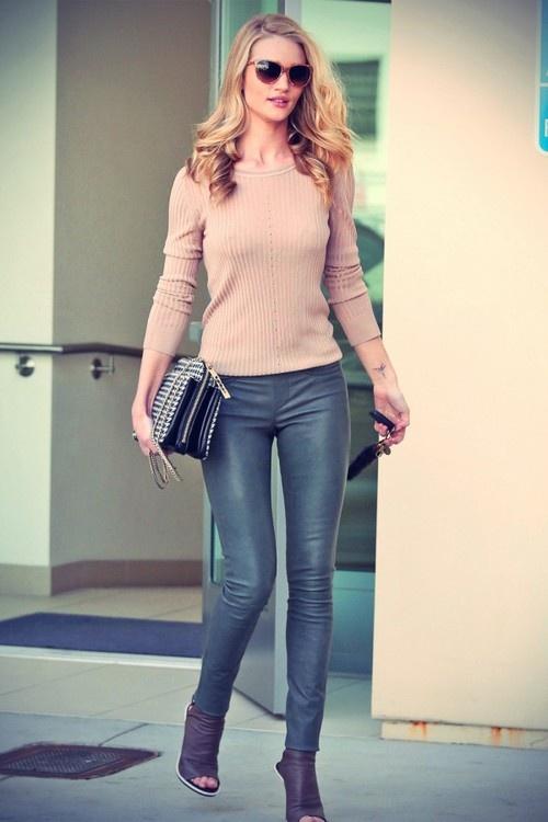 Waxed gray Helmut Lang jean. SPOTLIGHT.  Rosie Huntington-Whiteley in LA wearing our Stretch Plonge Leather Leggings.