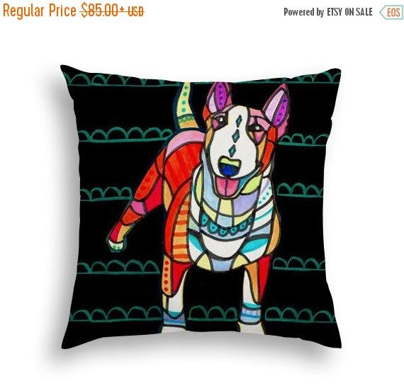 50% Off Today- Miniature Bull Terrier Art Pillow - Mini Bull Terrier Lovers Gift Dog Art by Heather Galler - 5 sizes to choose from