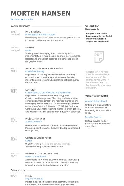 Phd Student Resume Example Graphic Design Student Cv
