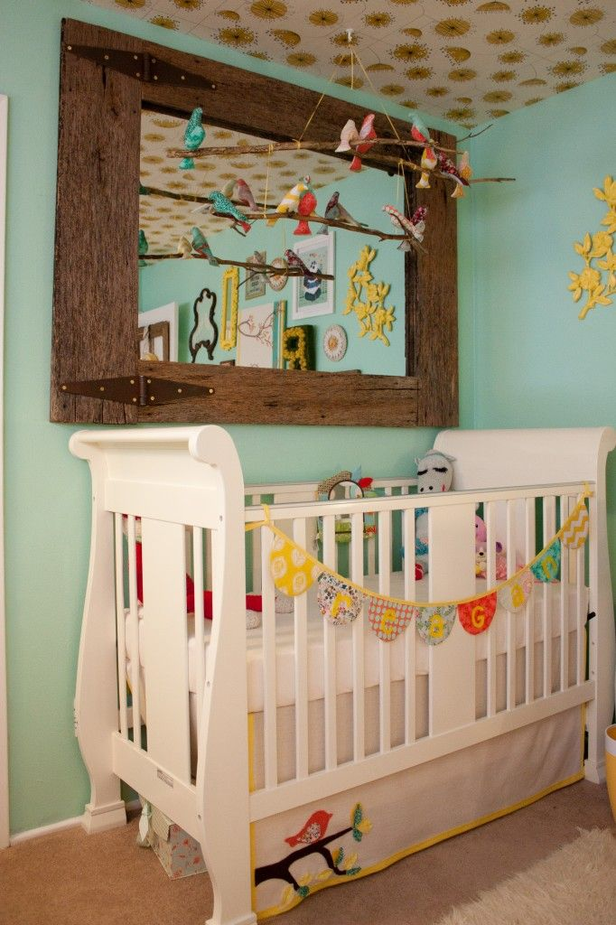 love the mirror and the cribNurseries Room, Baby Birds Image, Cribs Mobiles Ideas, Baby Girls Nurseries Birds, Kids Stuff, Birds Mobiles, Diy Nurseries, Baby Room, Rustic Mirrors