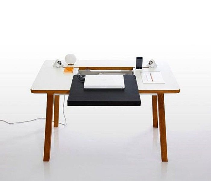 The table top comes in white sunmica while it stands on solid wood - blackhawk sekretar schreibtisch design