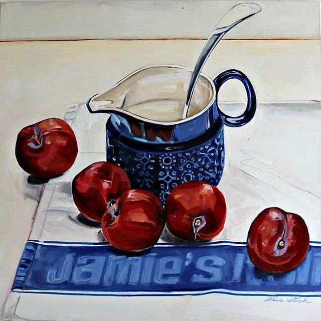 'Jamie's Plums' Oil on Panel #olivestack #olivestackgallery #jamieoliver #jamiesitalian #stilllife #plums  #lovefood #blue #london