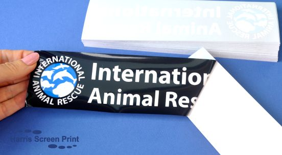 International Animal Rescue car window stickers printed onto static cling vinyl