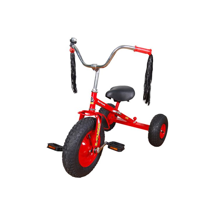 The Straight Frame Trike has large pneumatic tyres for easy pedaling over extreme terrain. Solid steel frame with adjustable spring seat. Includes a tow bar at the back for extra play value
