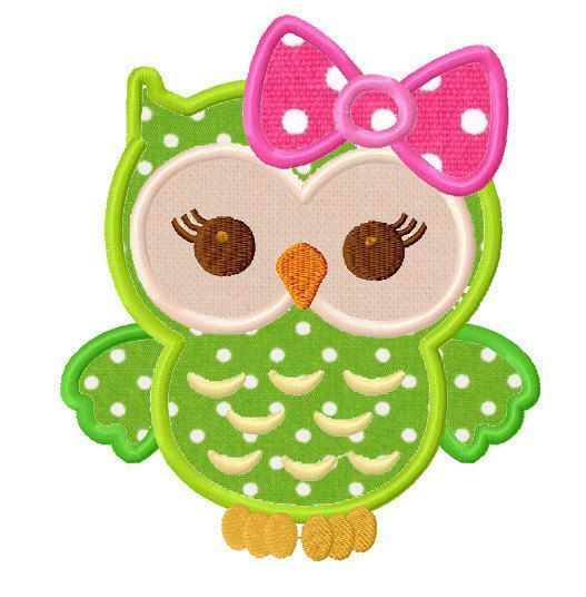 Girly owl applique machine embroidery design