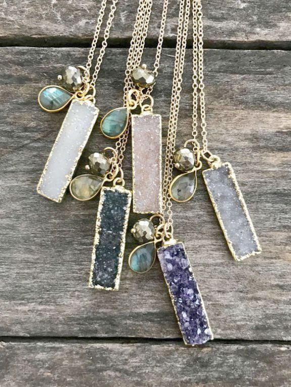Grt Silver Collections With Price : silver, collections, price, Εlena, Jewelry, Druzy, Necklace,, Vintage