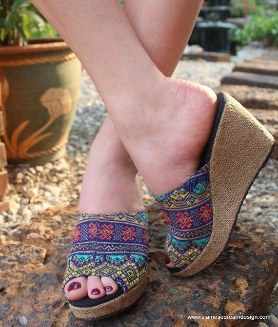 Womens Mules Ethnic Slide Shoe Wedge Heel by SiameseDreamDesign