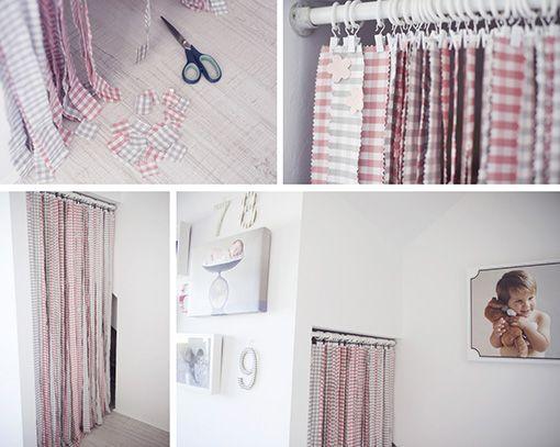 Este lo voy a hacer!!  Mi cesta de mimbre: DIY: una cortina hecha con tiras de tela.