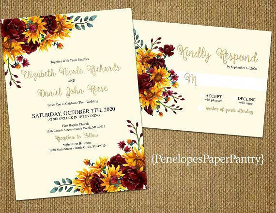 Penelopes Paper Pantry is proud to present our collection of Fall Wedding Invitations. The wedding invitations are fully customizable for your big day. This listing is for printed invitations. There is a 24 count minimum per order or per color. Our wedding invitations are