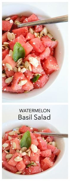 Salad Ideas| This Watermelon Basil Salad Recipe is perfect for a Summer BBQ.
