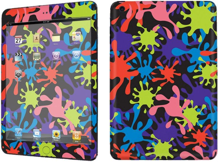 Amazon.com: Black, Pink and Blue {Splatter Paint} Front and Back Full Body Adhesive Vinyl Decal Sticker for iPad Mini 1st Generation Models A1432, A1454 and A1455 (No Air Bubbles - Removable Residue Free Skin}: Computers & Accessories