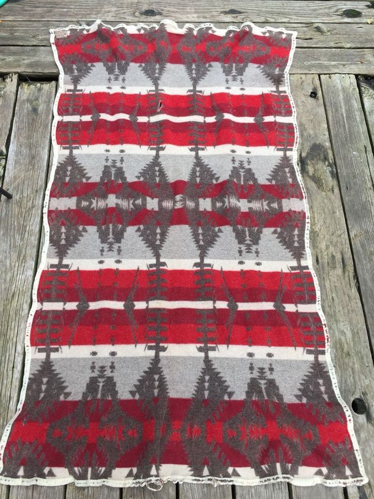 Old Cayuse Indian Trade Blanket 100% Wool Pendleton Red Brown Jacobs Oregon City