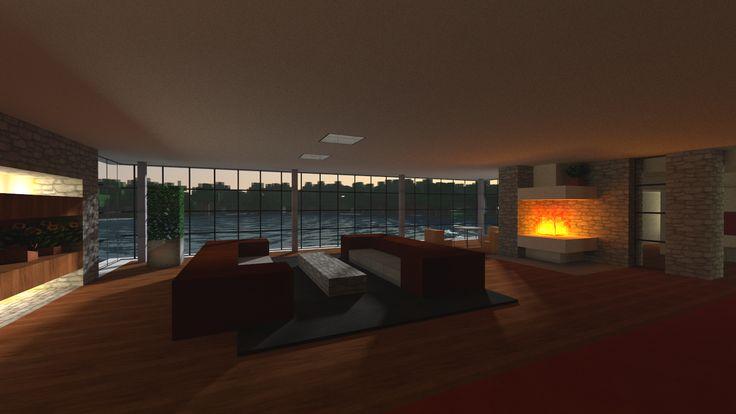 Minecraft house via reddit user discyd3rp gaming for Modern living room reddit