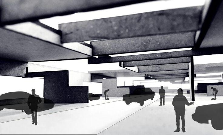 Maqueta Centro Automotriz - Recorte Espacial / Imaginario / Escenario Probable_ Talleres- Circulación