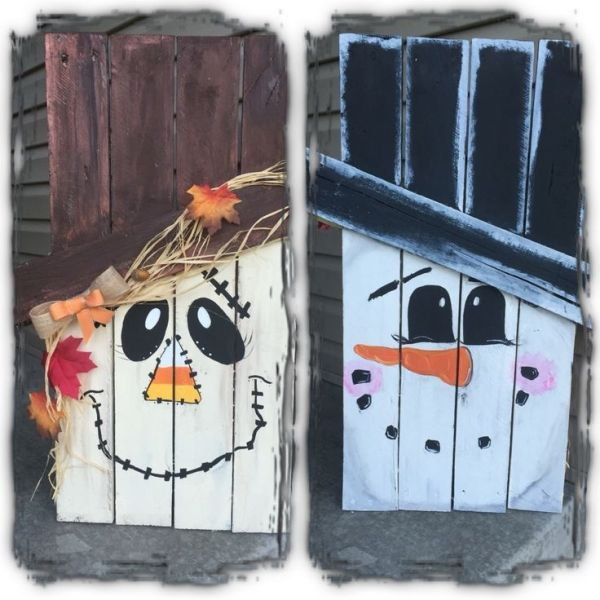 Two sided pallet scarecrow /snowman by jami