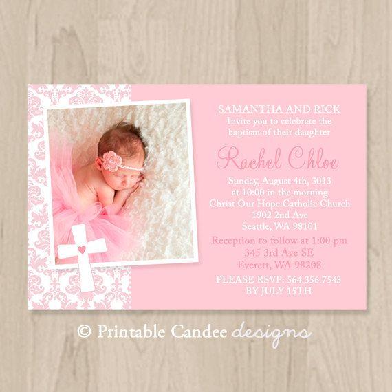 Pink Damask Baptism or Christening Invitation - DIY Custom Printable on Etsy, $10.00